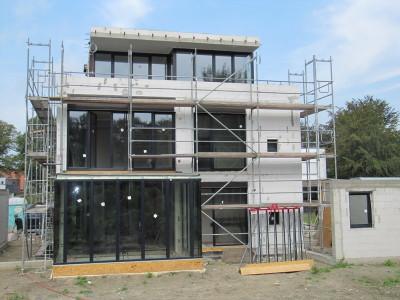 Neubau in Münster,  Leckagesuche und Messung Zertifikat für bestandenen Luftdichtigkeitstest nach ENEV