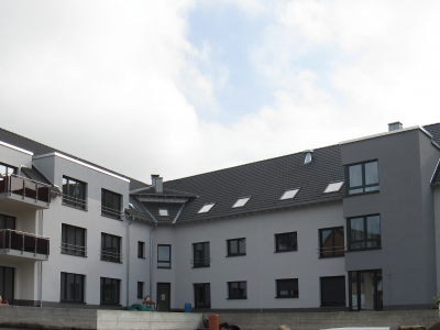 Dortmund, Passiv-Mehrfamilienwohnhaus in 3 Blöcken, Messung in der Bauphase und zur Abnahme