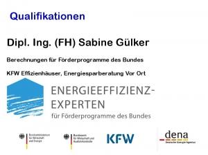 Dipl. Ings. Sabine Gülker - Programm Energie Spar Beratung vor Ort der BAFA - KFW