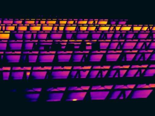 Thermografie der PV Anlage zeigt nicht angeschlossene Modulstränge