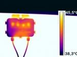 Thermografie einer Anschlußdose eines PV Moduls - Bypasdioden