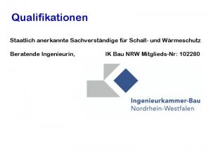 Dipl. Ing. (FH) Sabine Gülker - staatlich anerkannte Sachverständige für Schall- und Wärmeschutz IK Bau NRW
