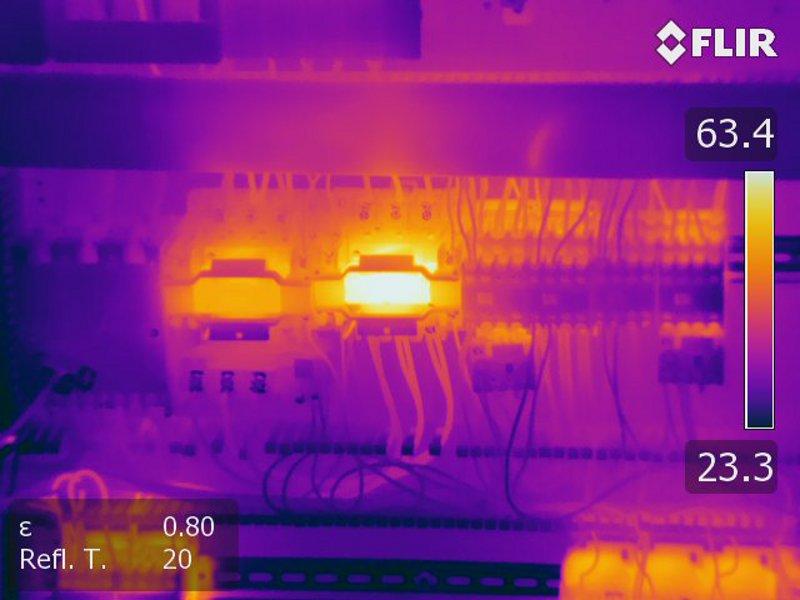 ELektrothermografie zeigt unterschiedlich heiße Sicherungen