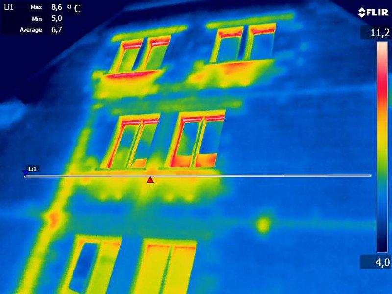 Thermografie mit Farbpalette Regenbogen