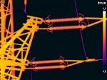 Hochspannungsmast Thermografie der Leitungsisolatoren